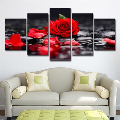 5-Panel Canvas Decorative Wall Painting Set Rose Print Pictures 40//60//80cm