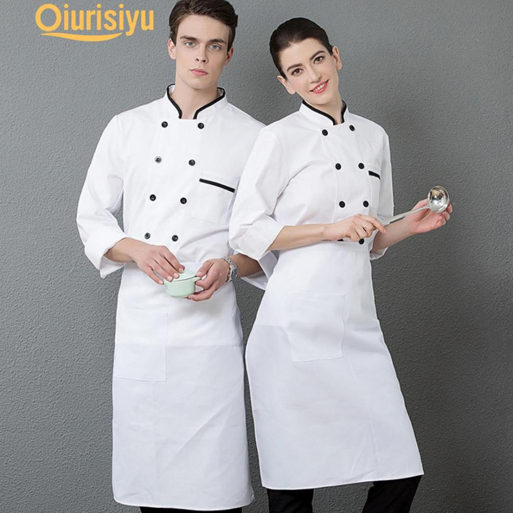 New Chef Coat Long Sleeve Jacket Sushi Catering Staff Tops Cook Uniform Workwear