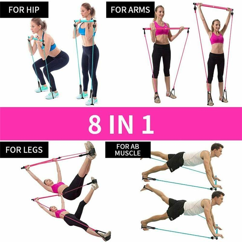 Pilates Bar Stick Yoga Resistance Band Portable Home Fitness Sport Training Elastic Bands Exercise Equipment Workout Pull Rod Fitness Pilates Bar