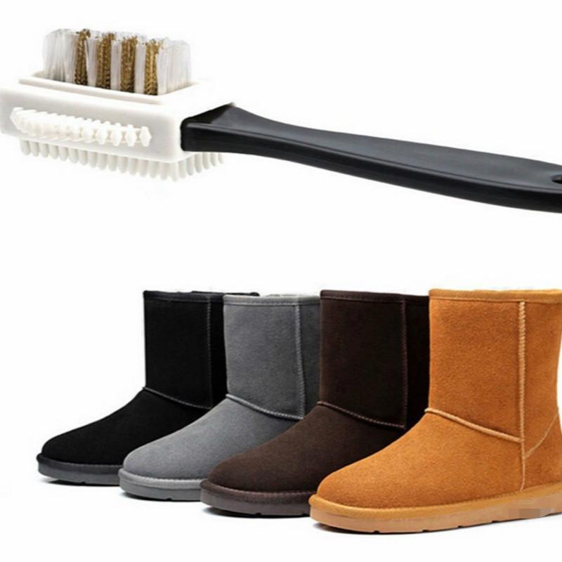 1PC Snow Boots Suede Leather Polishing Brush Clothing Care Wooden TPR