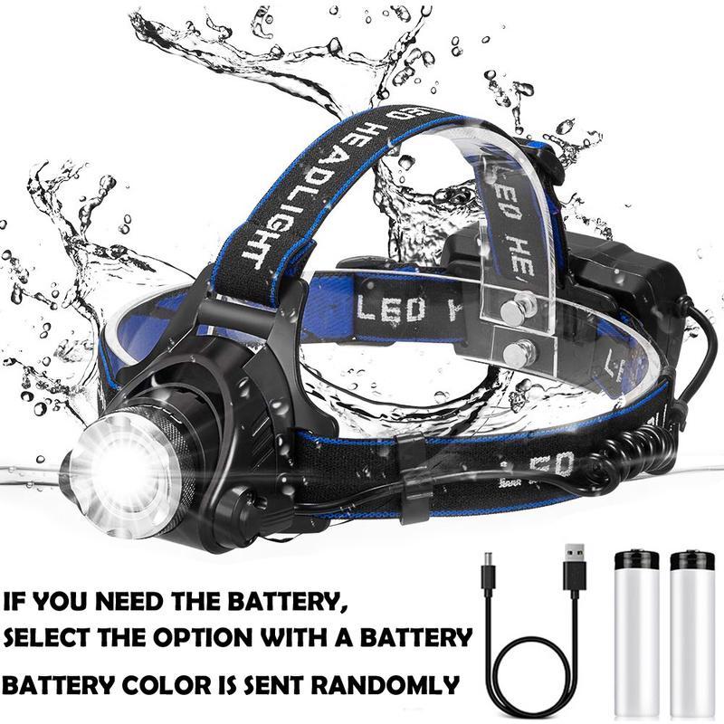 LED Rechargeable Headlamp Waterproof USB Head Torch Camping Fishing Headlight UK