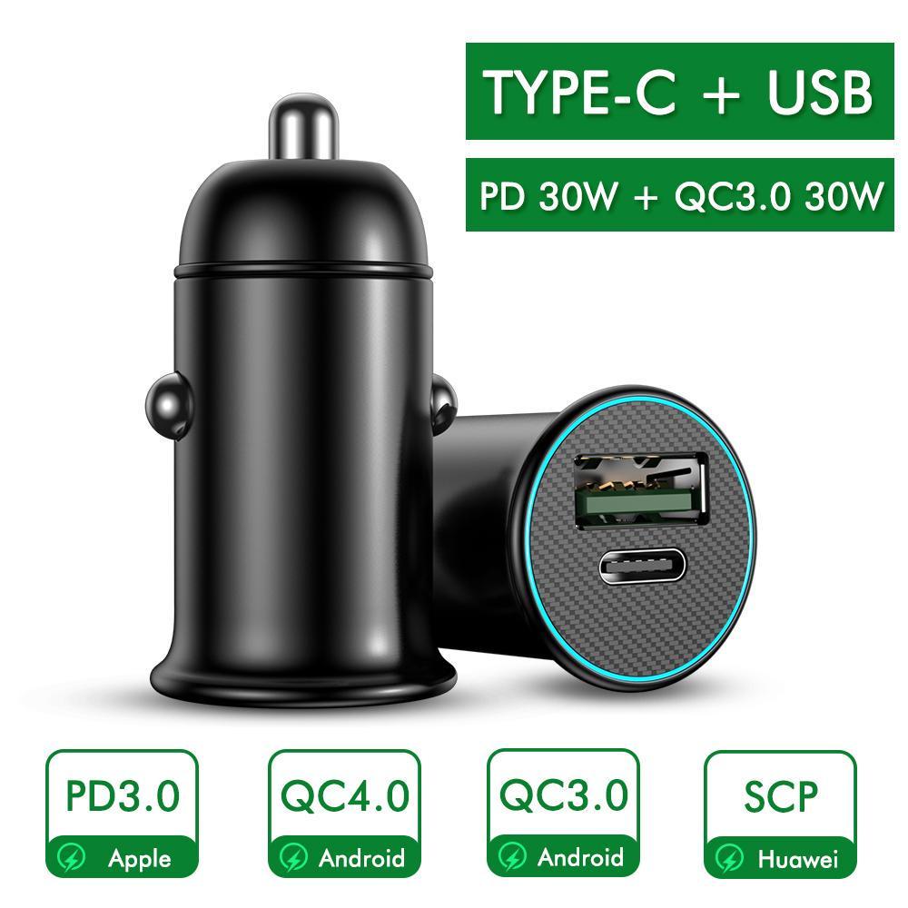 USB Автомобиль Зарядное устройство ROCK 5V 4.8A 30W PD 3.0 Быстрая зарядка Voltage Мониторинг Мини Мобильный телефон зарядное устройство