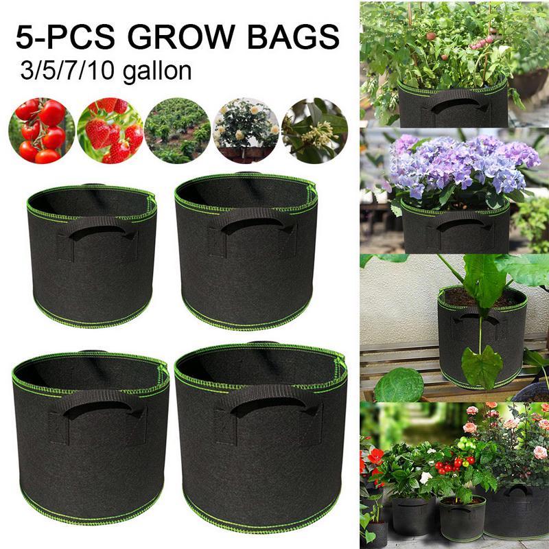 5Pcs Black Fabric Grow Pots Breathable Plant Bags Smart Plant with handle USA