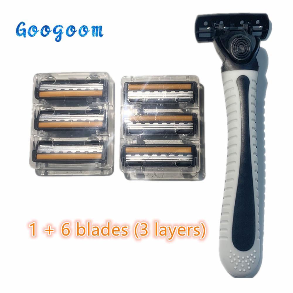 3 Слои 6 Клинки Классический бритья бритья бритвы Установить Руководство Борода бритва руках безопасности Анти-скользящая ручка фото