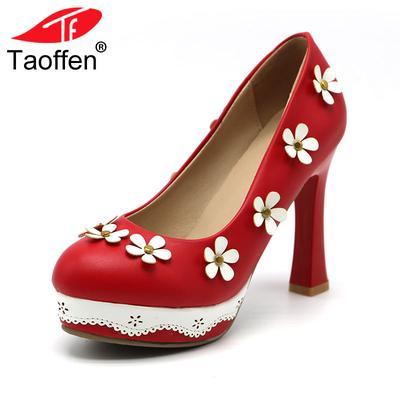 cdd0d2459b Sapatos de salto alto mulheres elegante Casual Weddding sapato bela camélia  flor doce senhora tamanho 32