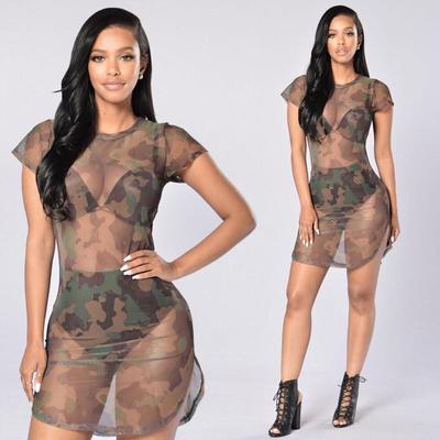 Fashion Women Mesh Sheer Bodycon Short Mini Dress Party Evening Bikini Beachwear