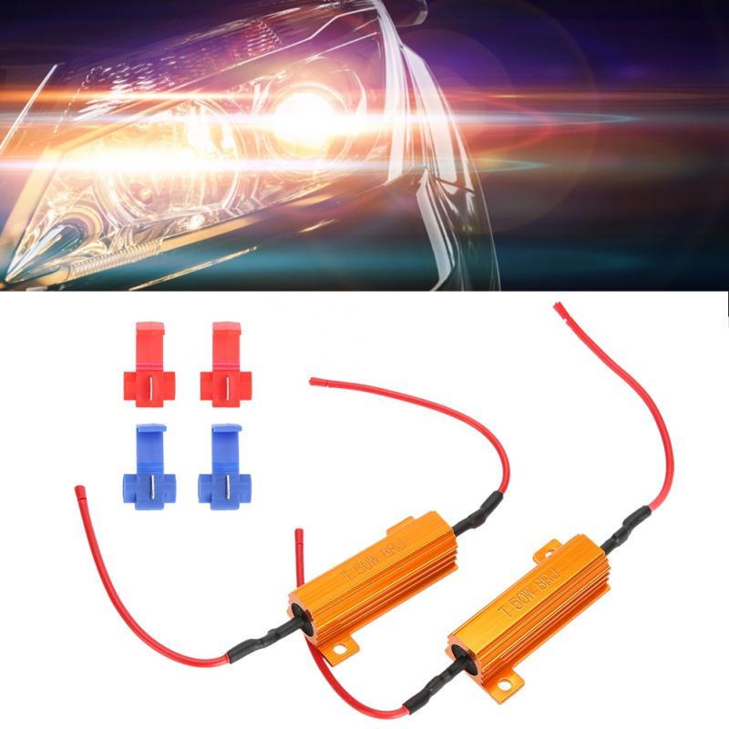 2x 9006 HB4 LED Load Resistor Relay No Error Harness Decoder Fix Flash 50W 6ohm