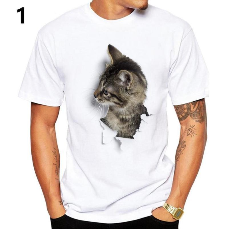 Man Women Cute Boxing Cat Print Casual Round Neck Shortsleeve T-Shirt Top Summer
