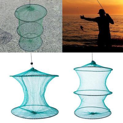 Fishing Net Round Folding Metal Frame Nylon Mesh Care Creel Tackle Accessory New