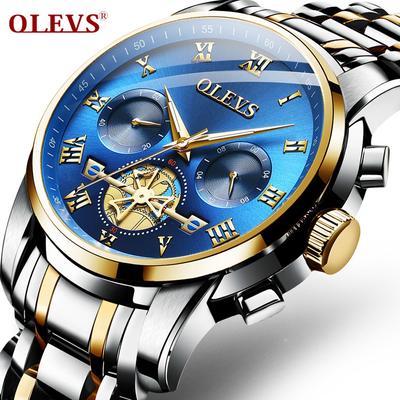OLEVS Watch Men Quartz Date Tourbillon Chronograph Stainless Steel Top Brand Hollow Waterproof  Watches Luxury Fashion