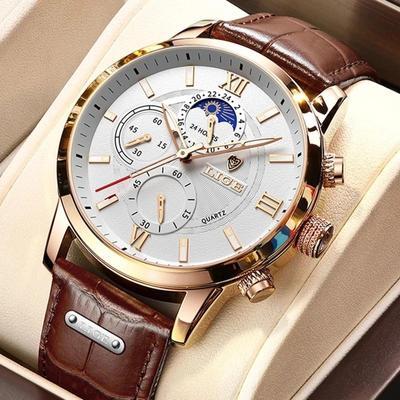 2021 LIGE Watches Mens Top Brand Luxury Clock Casual Leathe 24Hour Moon Phase Men Watch Sport Waterproof Quartz Chronograph+Box