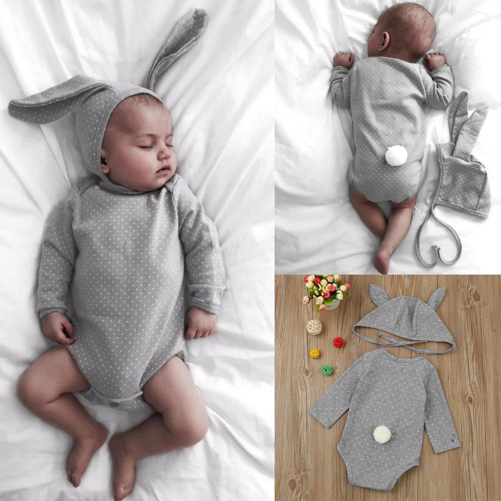 Recién nacido bebé niña punto conejo mameluco mono oreja sombrero ...