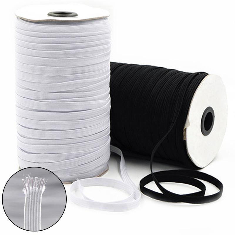 "200 Yards Elastic Band 1//4/"" 6mm Width Sewing Trim String DIY White//Black Braided"