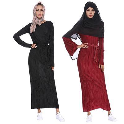 b2bfe10f862 Arab Muslim Robe Dress Women Long Sleeve Tunic Pleated Middle East ...