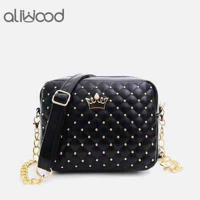 5e4ff11db6c8 Бренды женщин сумка PU кожа Messenger сумки заклепки цепи сумка через плечо  Сумки биржи
