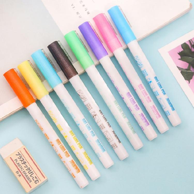 12Pcs//Lot Waterproof Colorful Marker Pen Fine Twin Tip Permanent Oily Pens Set