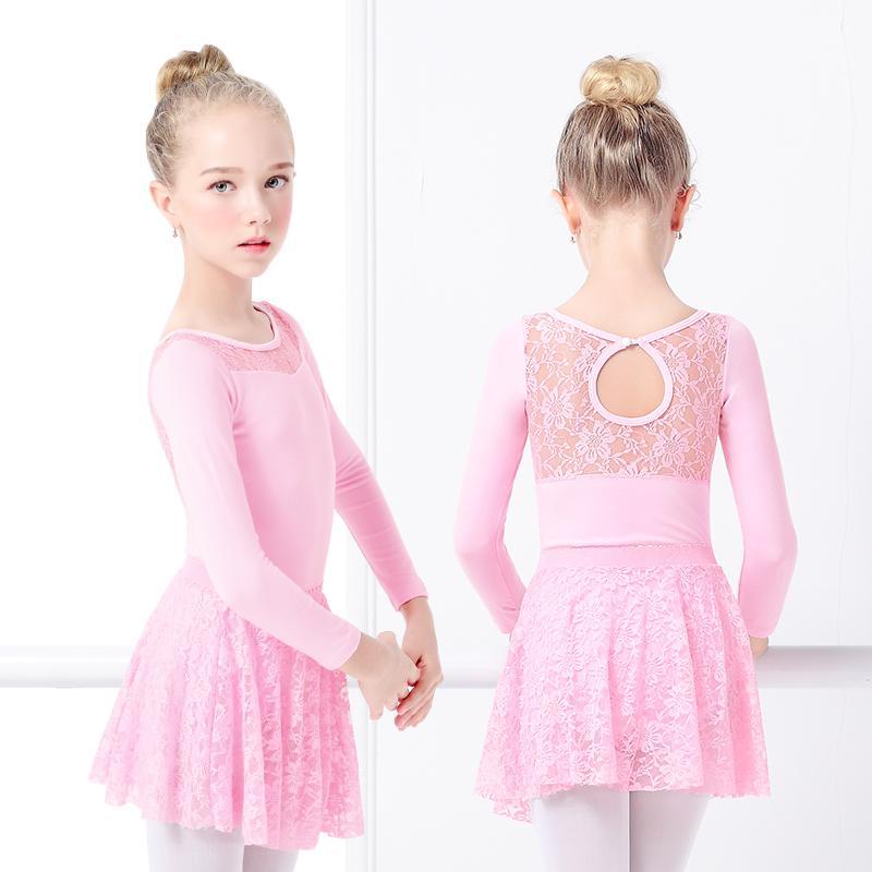 UK Girls Ballet Dress Dance Gymnastics Leotards Tutu Skirts Long Sleeves Costume