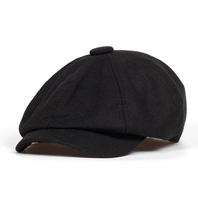 Autumn Winter Men Flat Cap Black Grey Newsboy Bakerboy Hats Cotton Beret Hat Men Woolen Flat Caps