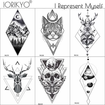 71e41ffff 3 Pieces Same Style IORIKYO Temporary Tattoo Men Stickers Women Geometric  Deer Fake Arm Skull Moth