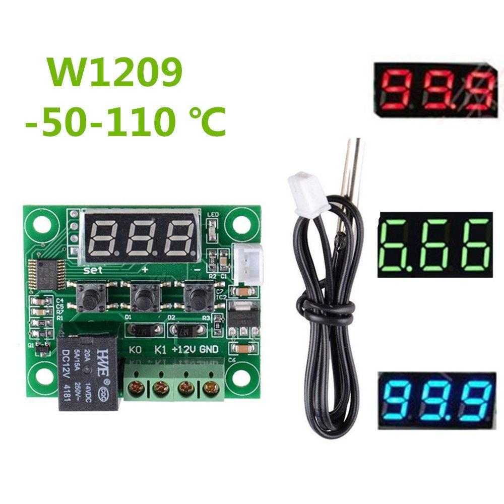 DC12V W1209 Red//Blue Thermostat Temperature Switch Policy Thermometer+Case