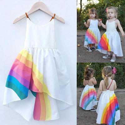 Kids Girls Fly Sleeve Striped Rainbow Princess Pageant Gown Birthday Party Dress