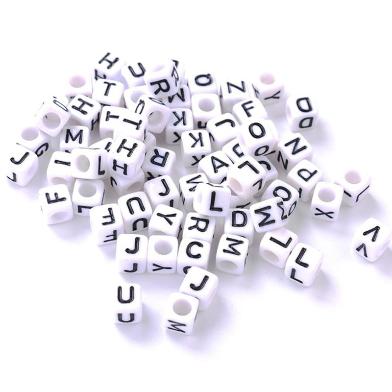 100x White Letter Alphabet Acrylic Loose Beads For Bracelet DIY Jewelry Finding