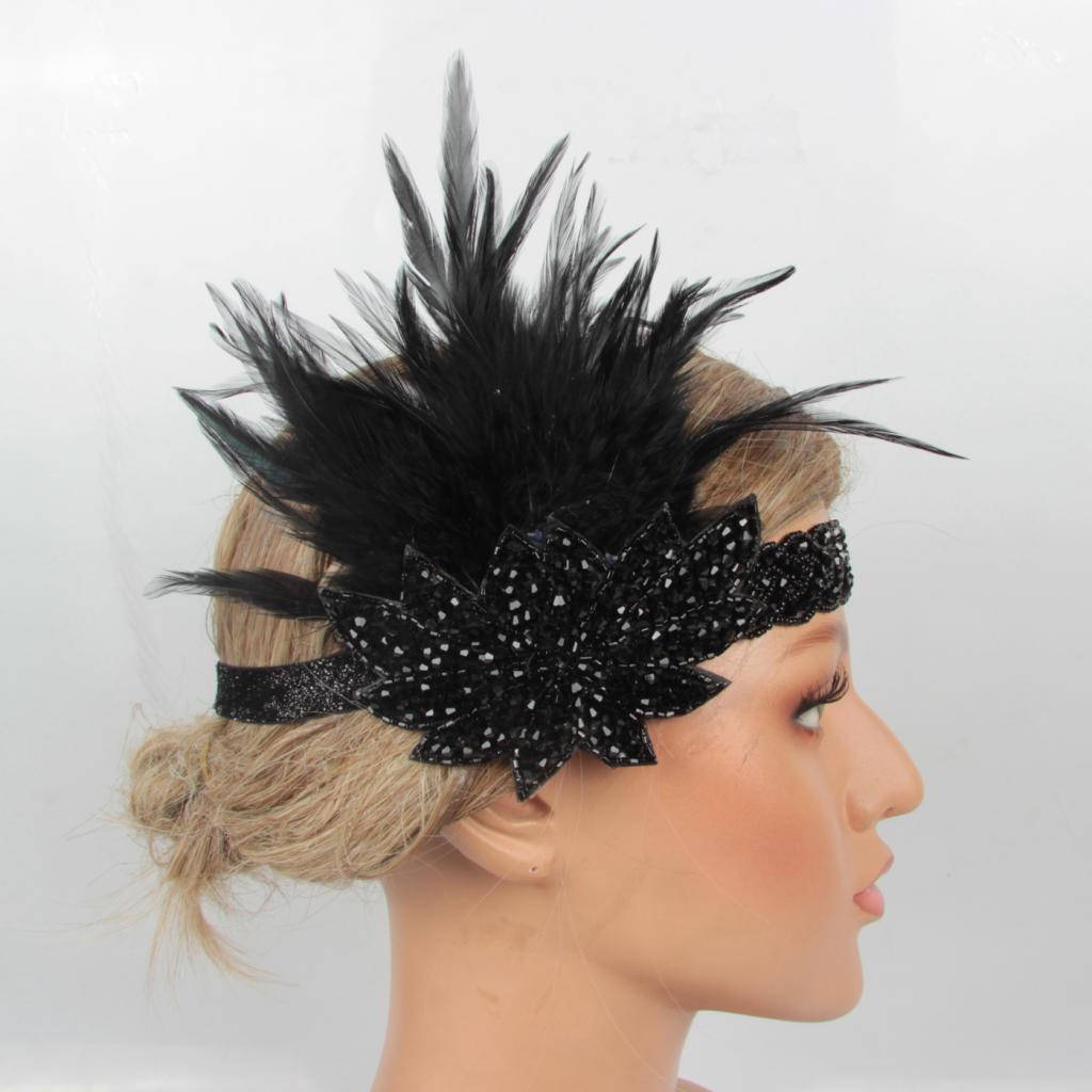 Ladies Glamorous Black Feather Ribbon 1940s 1920s Vintage Style Fancy Dress Hat