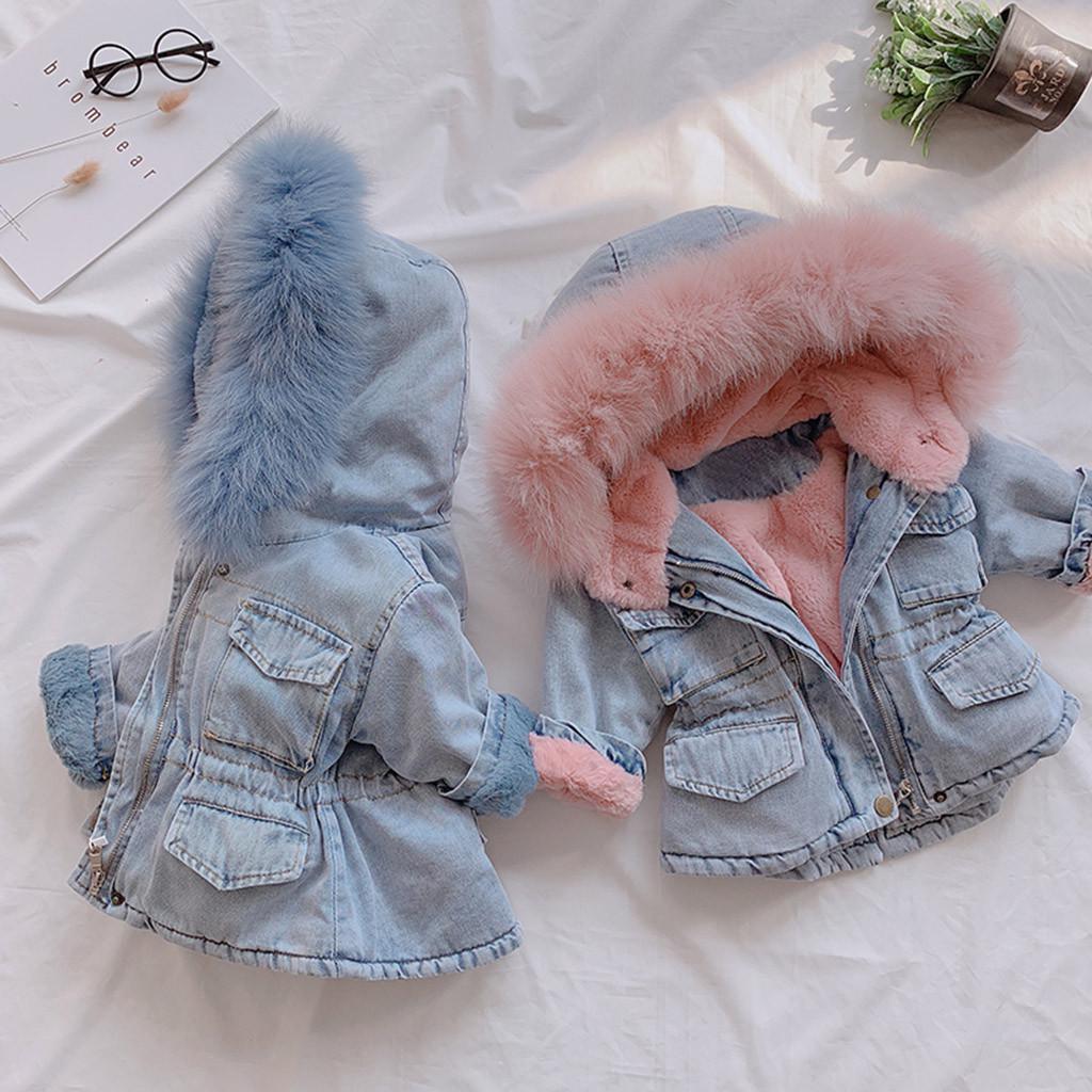 Infant Girls Winter Warm Faux Fur Hooded Floral Print Parka Coat Thick Jacket
