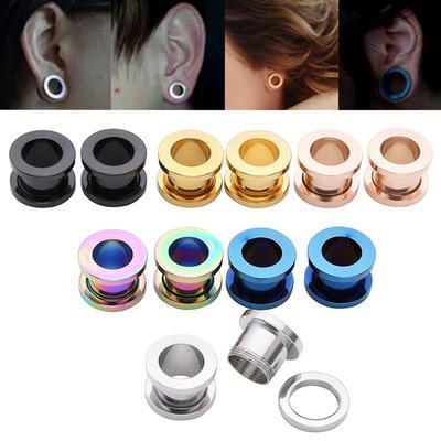 Paire Solide Noir ou Blanc Double Flare Ear Plugs Acrylique Selle jauges-Piercings