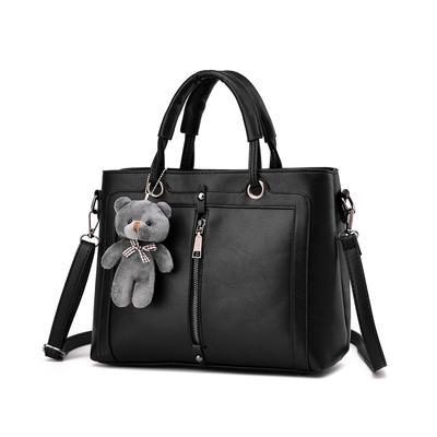 Europe Fashion Bag Female Little Bear Pendant Handbag Small Square Bag Casual Shoulder Messenger Bag