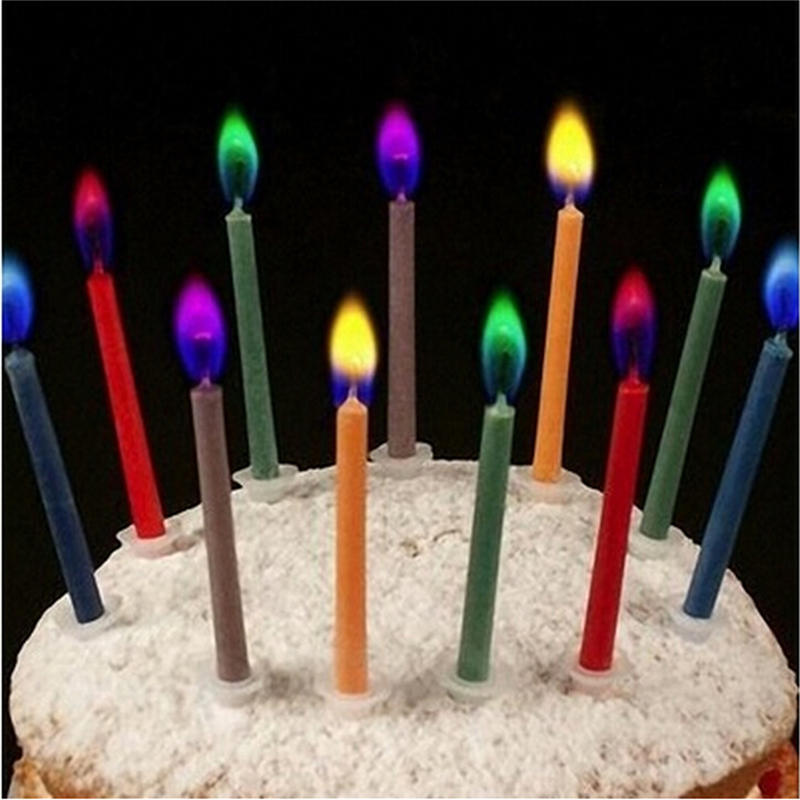 4Pcs Candle Sticks Birthday Cake Display Safe Flames Party Festivals Cake Topper
