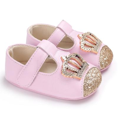 Baby Shoes Pink Crown Princess Baby Girl Shoes Cotton PU Leather Mary Jane Newborn First Walkers Toddler Shoes For Girls