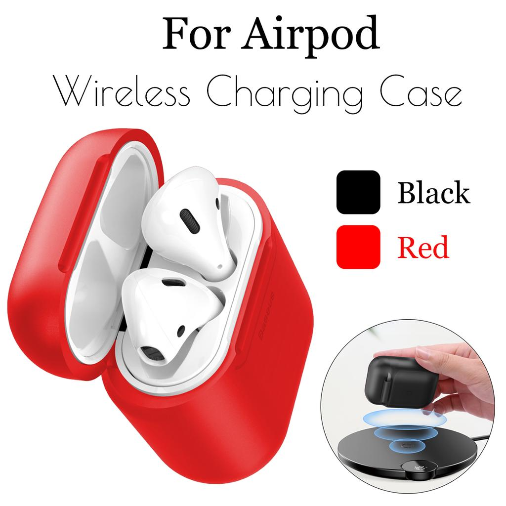 Red Airpods Wireless Charging Case,Wireless Charging Receiver for Airpod Airpod Compatible Qi Charging Lightning Adapter Sleeve Silicone Case Cover with Any Qi Wireless Charger