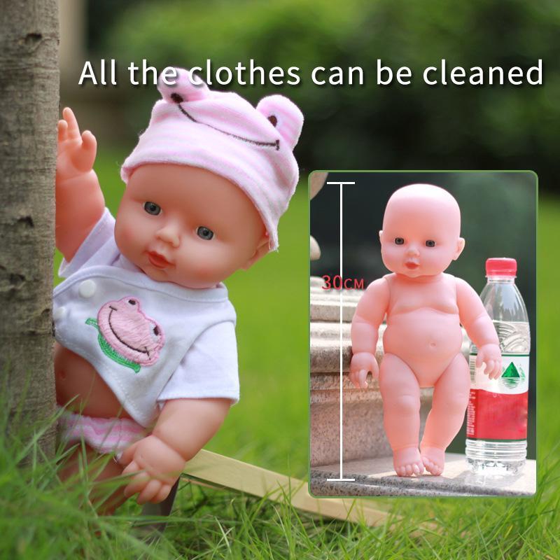Rebirth Doll 28cm Green Eyes Baby Toys For Girls Accompany Doll Lifelike Toddler