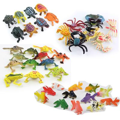 8/12pcs Frog Turtle Crab Animal Model Small Toy Action Figures Education Kids Toy