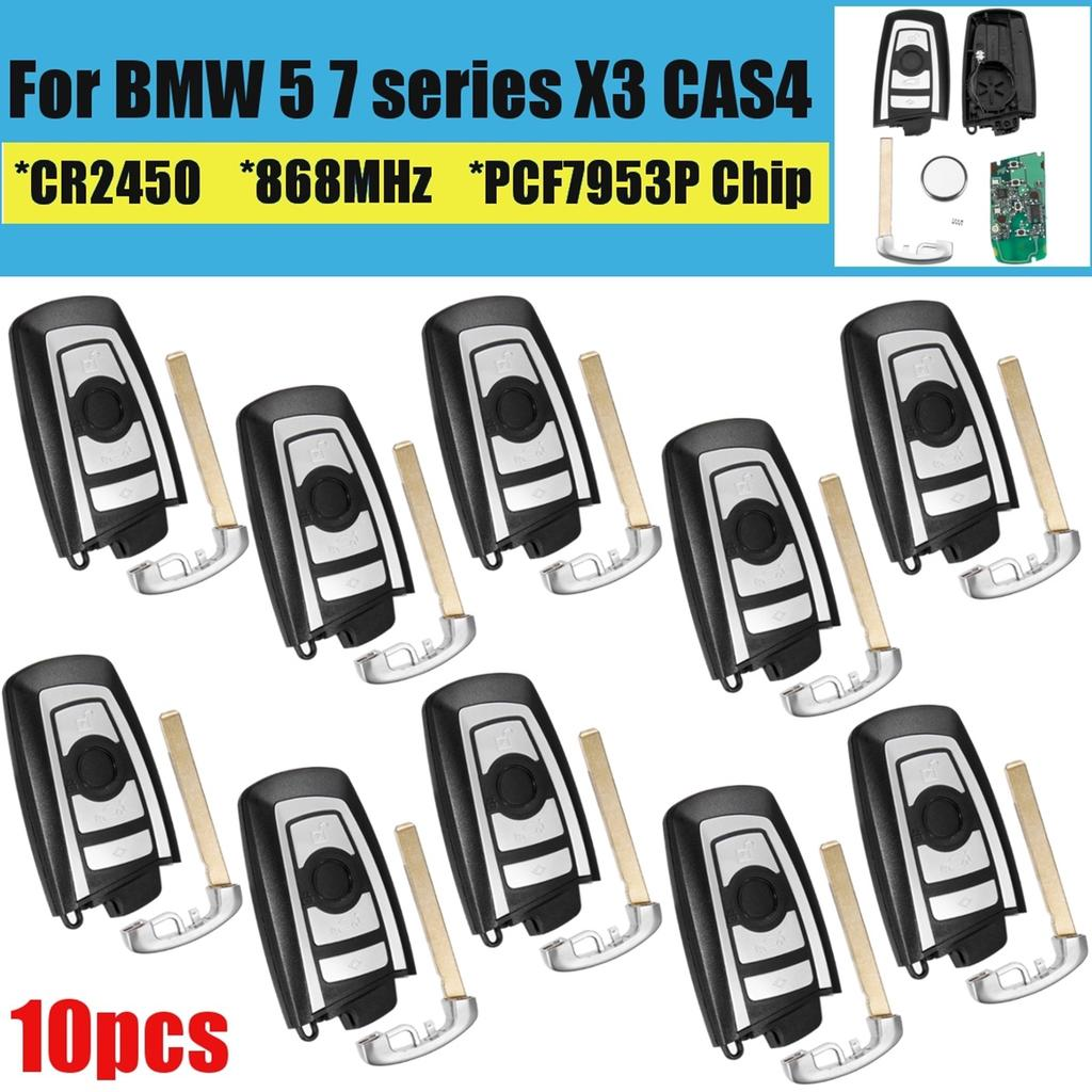Remote key 10pcs for BMW 5 7 series X3 cas4 4 buttons pcf7953p chip 868mhz  car remote key fob case shell