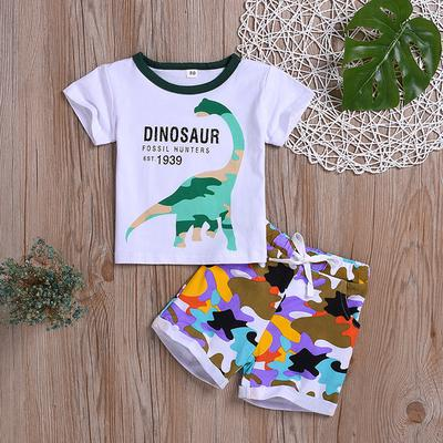 Toddler Kids Baby Boy Cartoon Dinosaur T Shirt Tops+Camo Shorts Outfits Clothes