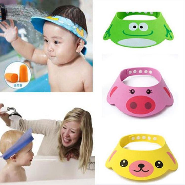 Waterproof Shampoo Caps Bathing Bath Protect Soft Cap Wash Head Baby Newborn Shower Folding Adjustable Cap Hat Baby Care