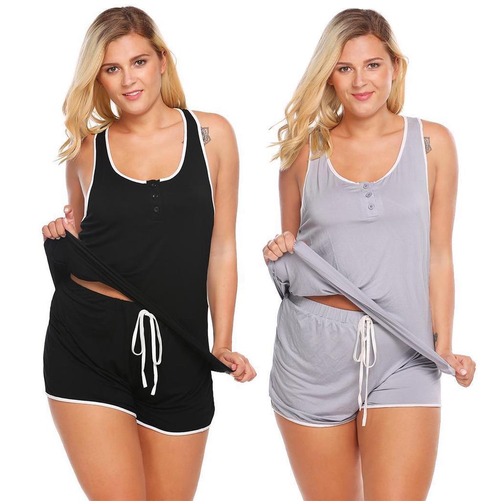 e8bdc05ac2 Ekoua mujeres suave Racerback Tank Top y Shorts pijama conjunto ropa ...