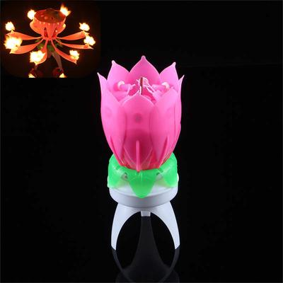 LED Candle Musical Lotus Flower Happy Birthday Candles Light For Cake Party Gift Decoration