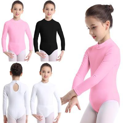 Kids Girls Turtle Neck Ballet Dance Leotard Long Sleeve Gymnastics Dancewear