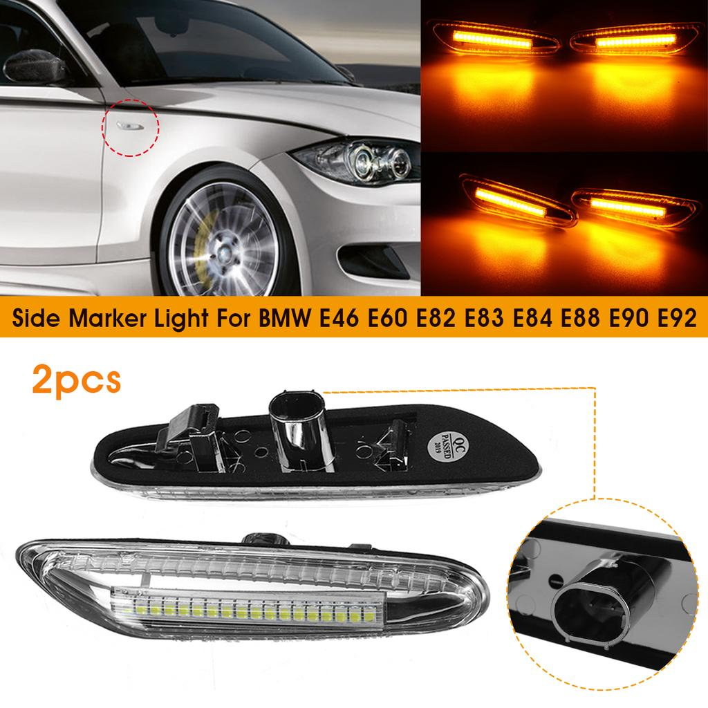 Car Turn Signal Lights 2x LED Flowing Side Marker Indicator Light for E46 E60 E61 E36 E81 E82 E87 E88 E90 E91 E92 E93 X1 E84 X3 E83 X5 E53