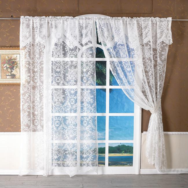 White Lace Short Curtain Kitchen Window Jacquard Floral Sheer Curtain Valance 1p