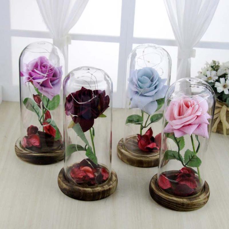 Высокое качество Рождественские Валентина подарки романтический вечный роза цветок привело свет «красота и Беас фото