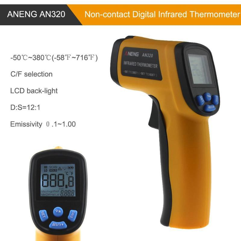 AN320A Laser LCD Digital Thermometer Non-Contact IR Infrared Temperature Meter