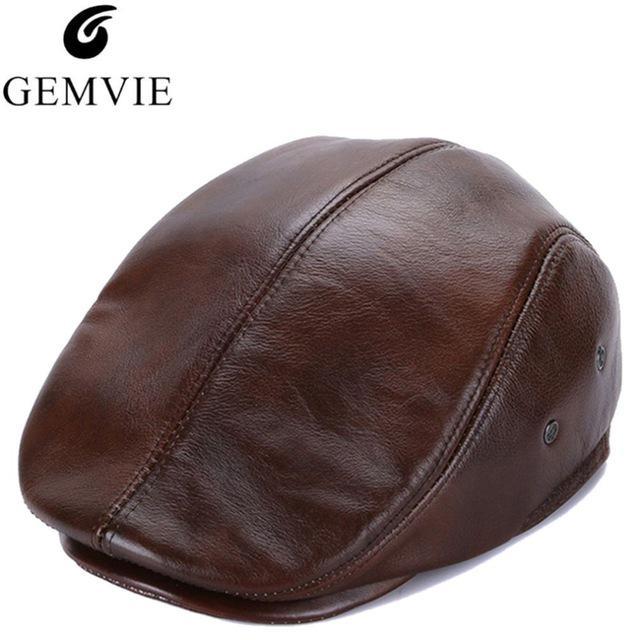Color sólido boinas de visera de cuero para hombres otoño invierno ... 4dc4c160b13