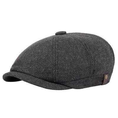 Men Classic Beret Caps Male Winter Warm Striped Woolen Headgear Casual Street Literary Style Hats