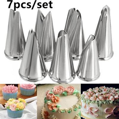 7Pcs Kuchen Tulpe Blumen Zuckerglasur Rohr Düse Spitzen Backen Werkzeug Set