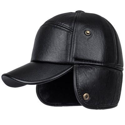 ca0b8c6d2ed Black PU Leather Luxury Winter Elderly Men Faux Leather Bomber Trapper Ear  Warm Outdoor Hat Cap