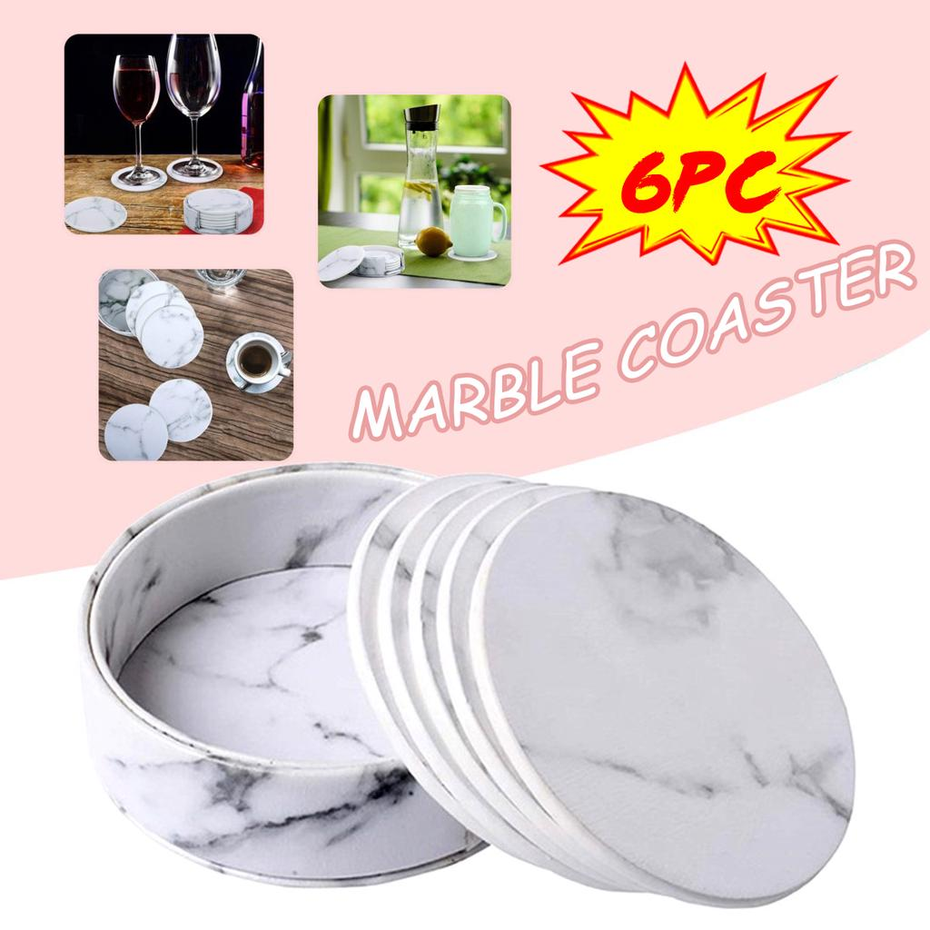6pcs Marble Heat Insulation Drink Coasters w// Holder Cup Mat Costers Tableware